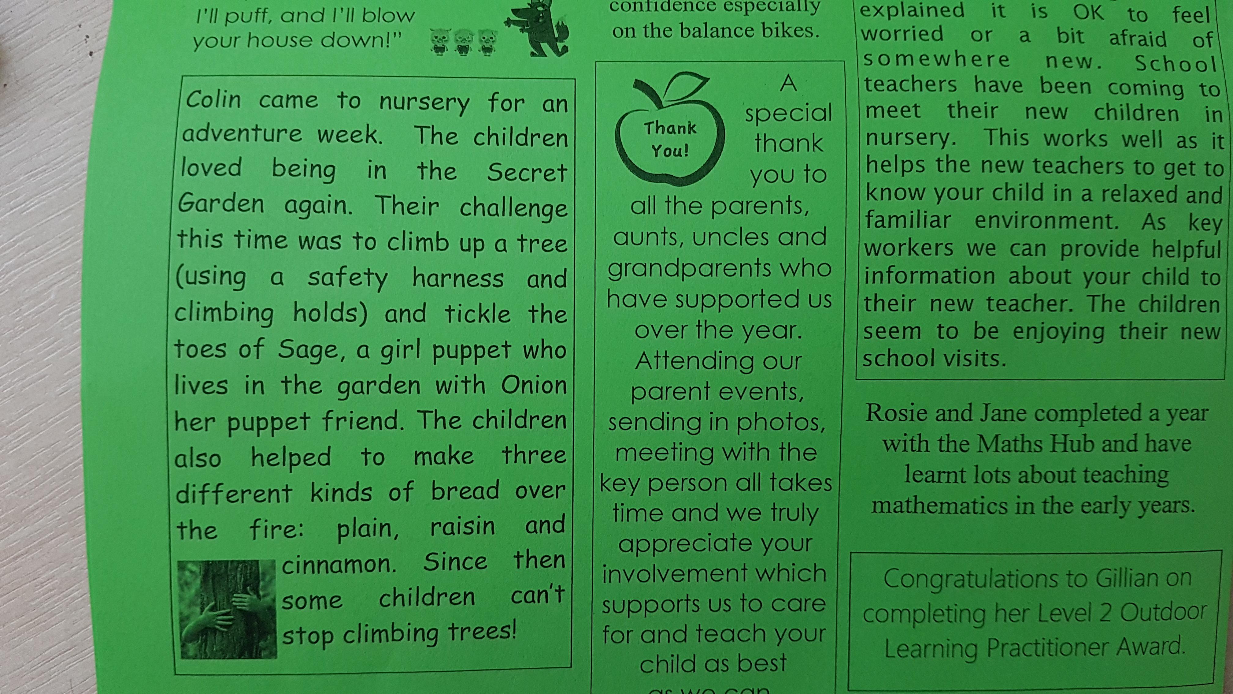 Nursery EYFS Outdoor education