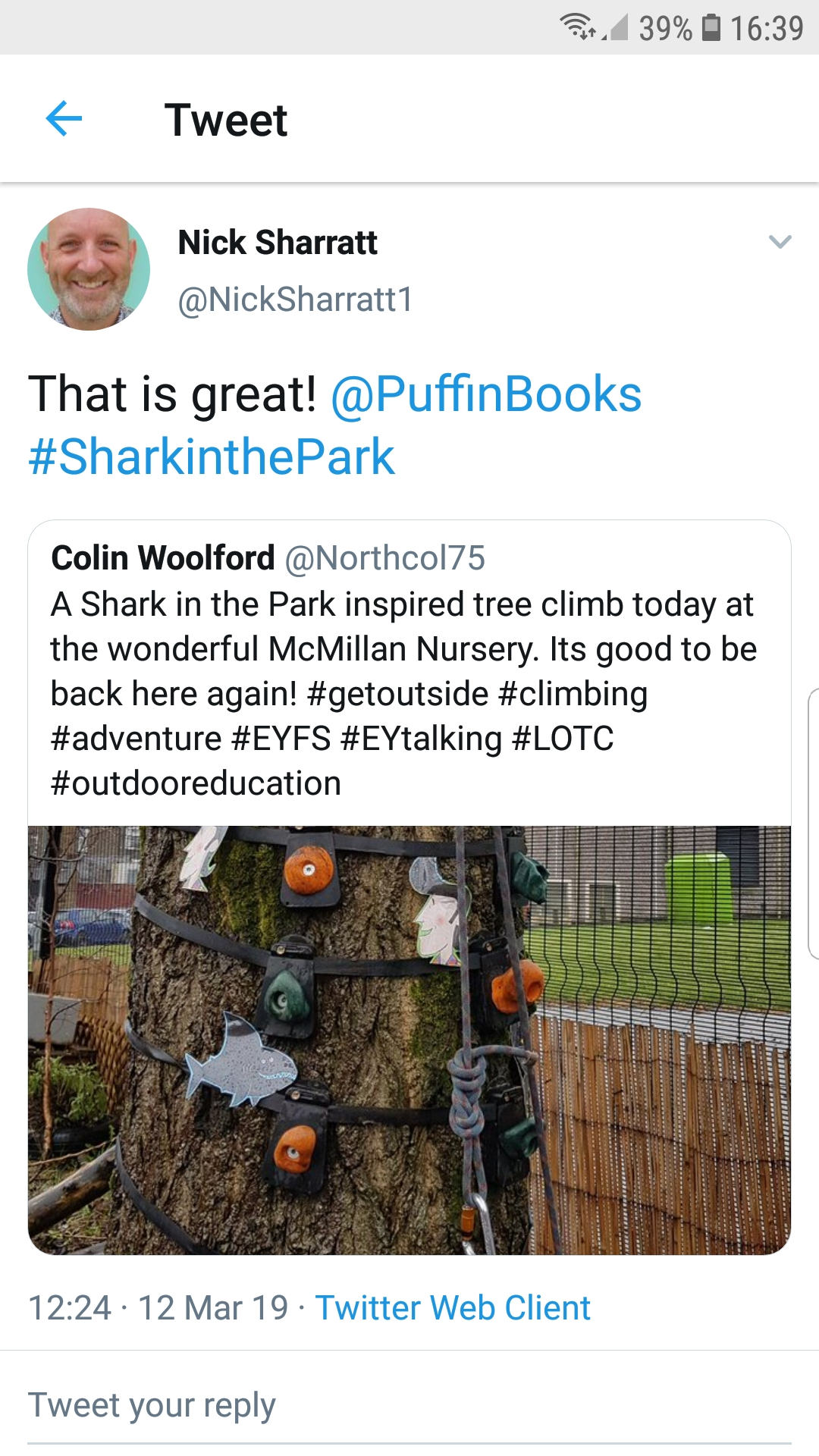 Twiter, Nick Sharratt, EYFS Outdoors, Shark in the Park